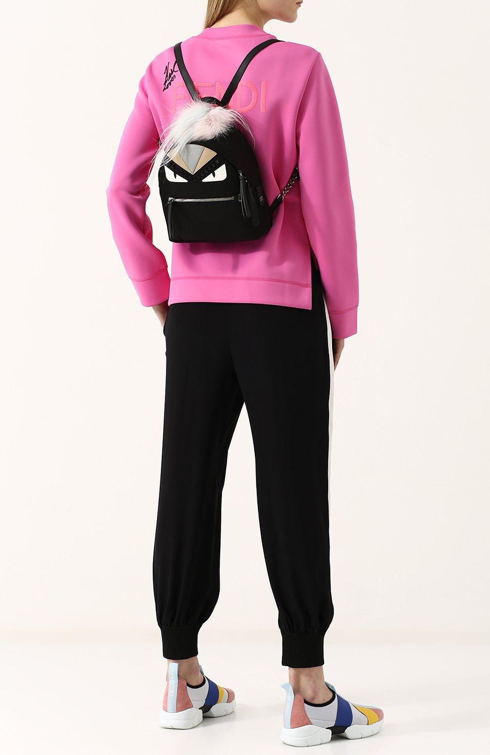 Женский рюкзак из текстиля с аппликациями bag bugs FENDI черного цвета, арт. 8BZ038 A0Y7 | Фото 2