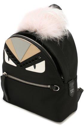 Женский рюкзак из текстиля с аппликациями bag bugs FENDI черного цвета, арт. 8BZ038 A0Y7 | Фото 4