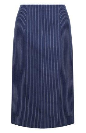 Женская хлопковая юбка-миди в полоску FENDI синего цвета, арт. FQ6734 A3BF | Фото 1