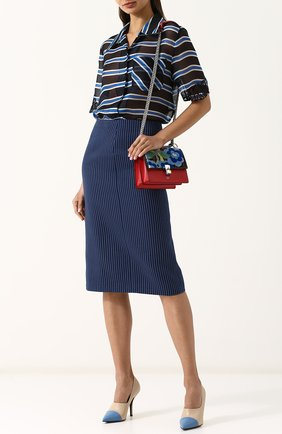 Женская хлопковая юбка-миди в полоску FENDI синего цвета, арт. FQ6734 A3BF | Фото 2