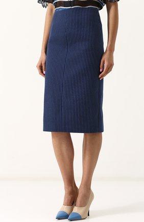 Женская хлопковая юбка-миди в полоску FENDI синего цвета, арт. FQ6734 A3BF | Фото 3