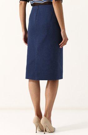 Женская хлопковая юбка-миди в полоску FENDI синего цвета, арт. FQ6734 A3BF | Фото 4