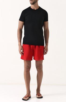 Мужские кожаные шлепанцы с плетением RALPH LAUREN красного цвета, арт. 815697994 | Фото 2