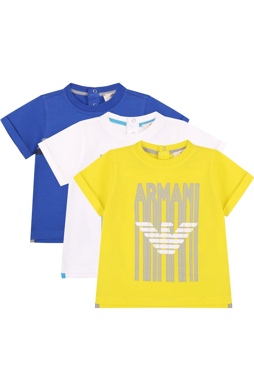 Детский хлопковый комплект из трех футболок с принтом ARMANI JUNIOR желтого цвета, арт. 3ZHD01/4J22Z | Фото 1