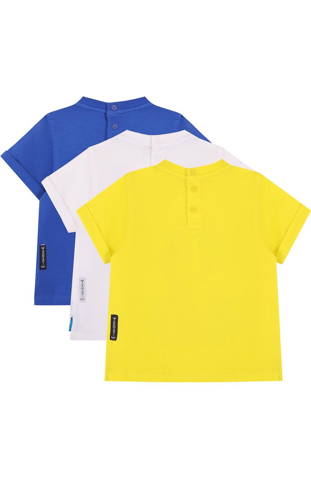 Детский хлопковый комплект из трех футболок с принтом ARMANI JUNIOR желтого цвета, арт. 3ZHD01/4J22Z | Фото 2