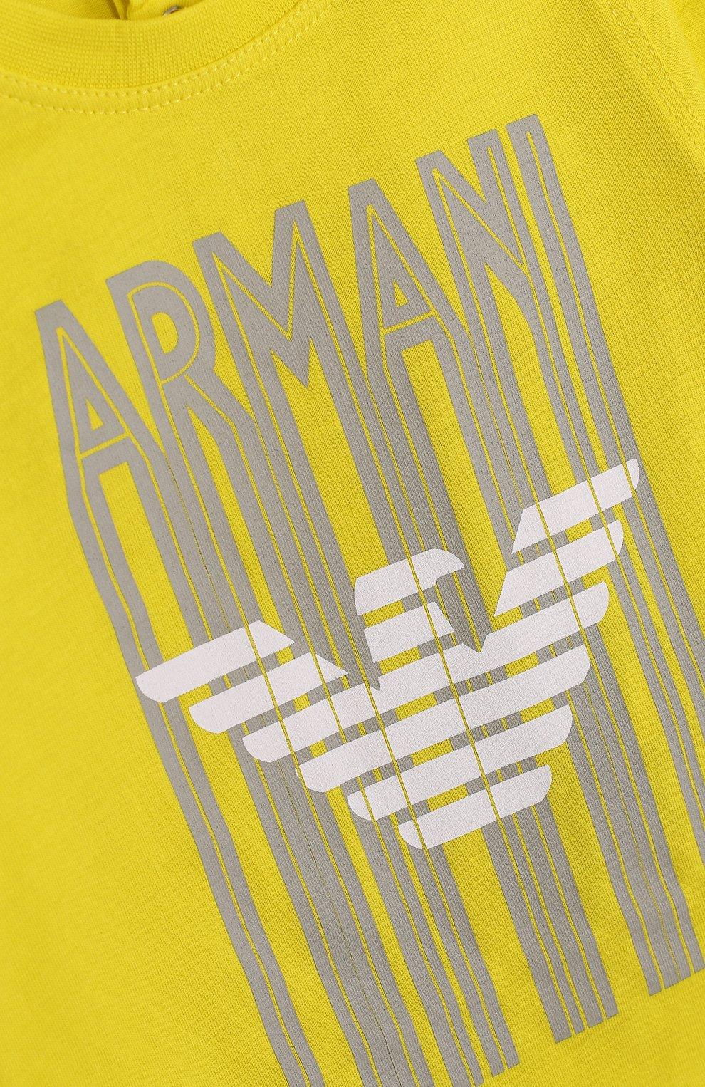 Детский хлопковый комплект из трех футболок с принтом ARMANI JUNIOR желтого цвета, арт. 3ZHD01/4J22Z | Фото 3