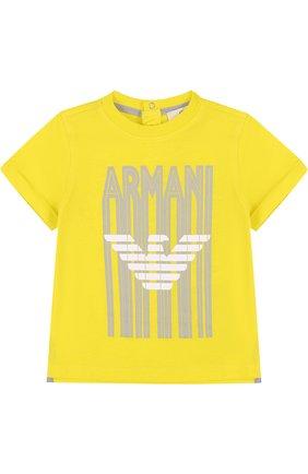 Детский хлопковый комплект из трех футболок с принтом ARMANI JUNIOR желтого цвета, арт. 3ZHD01/4J22Z | Фото 8