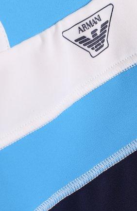 Детского плавки-шорты с логотипом бренда ARMANI JUNIOR бирюзового цвета, арт. 3ZHW02/4J0QZ | Фото 3