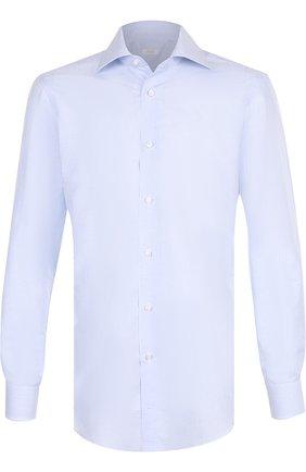 Сорочка из смеси льна и хлопка Barba голубая   Фото №1