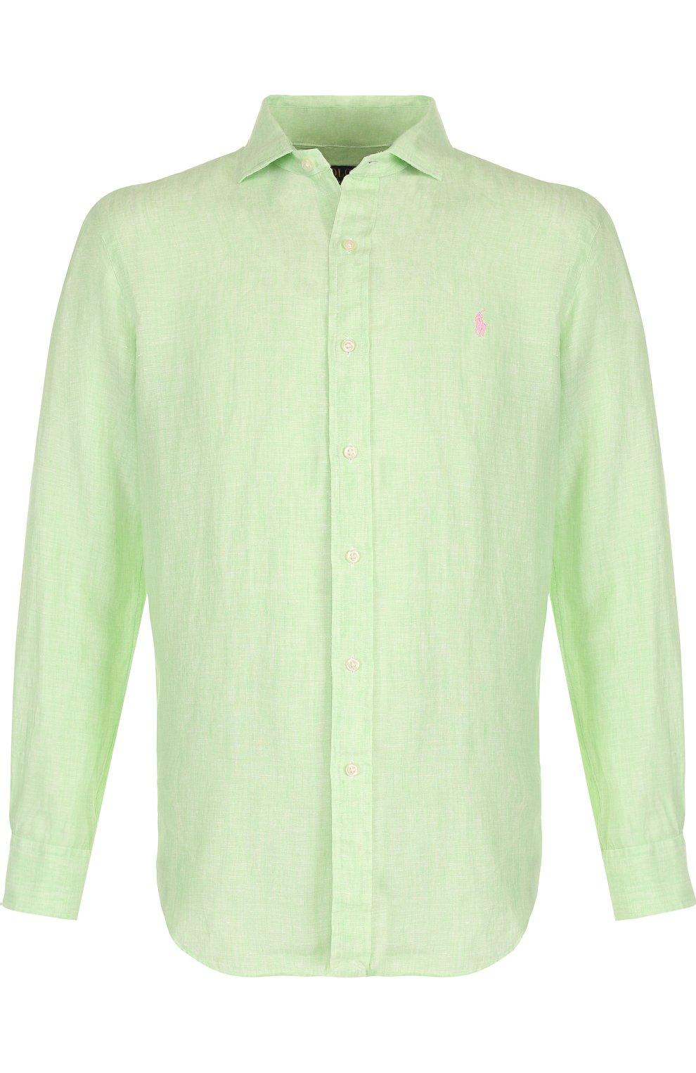 3c5672d376f Мужская салатовая льняная рубашка с воротником кент POLO RALPH ...