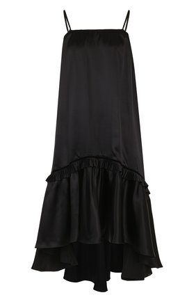 Шелковое платье свободного кроя с оборкой | Фото №1