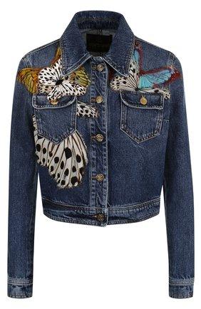 Укороченная джинсовая куртка с контрастной отделкой | Фото №1