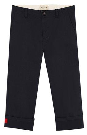Хлопковые брюки с отворотами и контрастной нашивкой | Фото №1