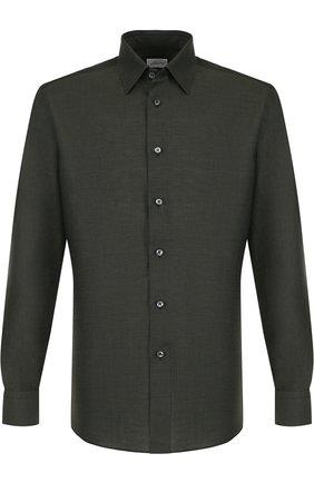 Мужская рубашка из смеси льна и хлопка с воротником кент BRIONI зеленого цвета, арт. SC1317/P3121 | Фото 1