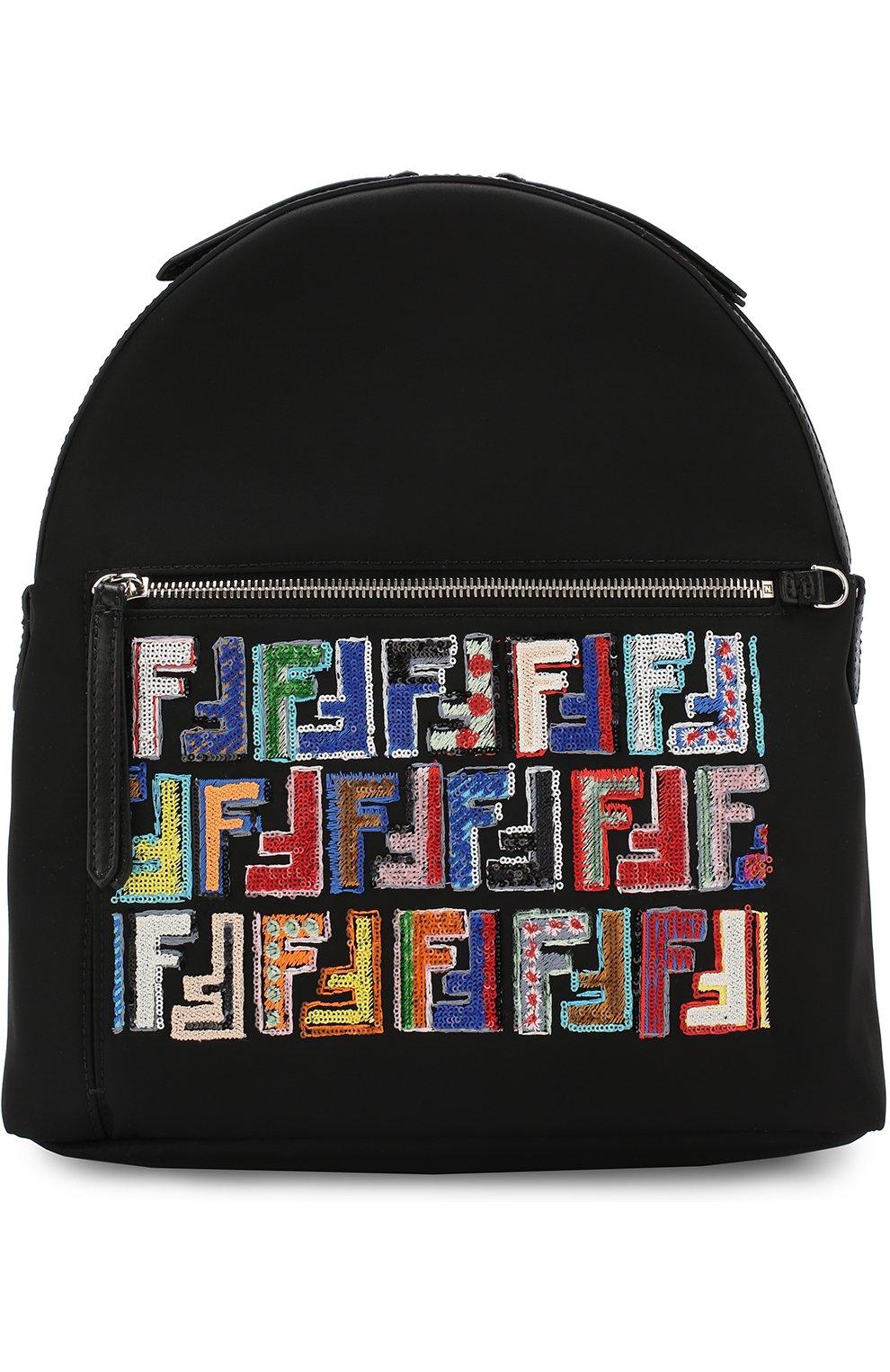 Кожаный рюкзак с текстильной отделкой | Фото №1