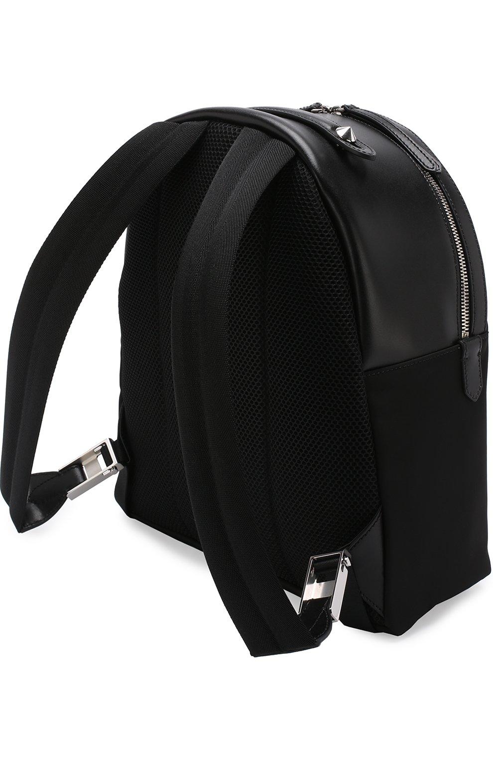 Кожаный рюкзак с текстильной отделкой | Фото №3