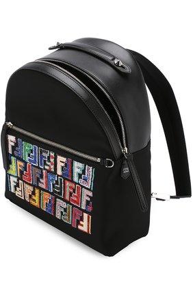 Кожаный рюкзак с текстильной отделкой | Фото №4