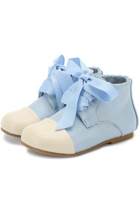 Детские кожаные ботинки на шнуровке Age of Innocence розового цвета   Фото №1