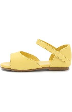 Детские кожаные сандалии с застежками велькро Age of Innocence желтого цвета   Фото №1