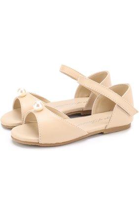 Кожаные сандалии с застежками велькро и жемчужиной   Фото №1