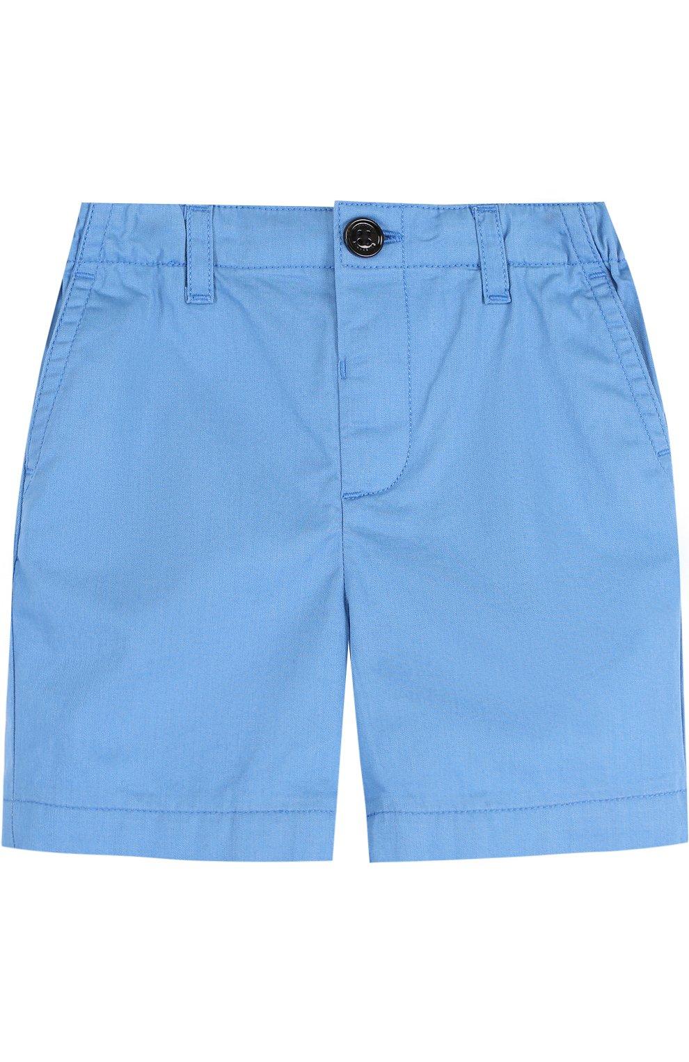 Детские хлопковые шорты с эластичной вставкой на поясе BURBERRY голубого цвета, арт. 4063423 | Фото 1