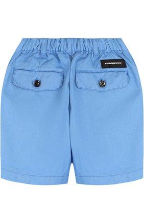 Детские хлопковые шорты с эластичной вставкой на поясе BURBERRY голубого цвета, арт. 4063423 | Фото 2