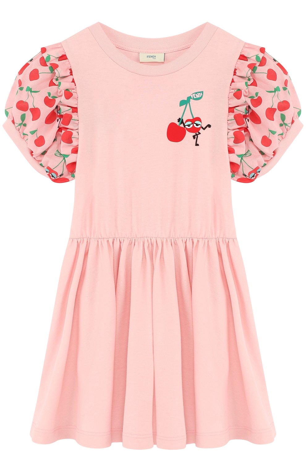 Детское приталенное хлопковое платье с контрастными рукавами FENDI розового цвета, арт. JFB163/7AJ/2A-5A | Фото 1