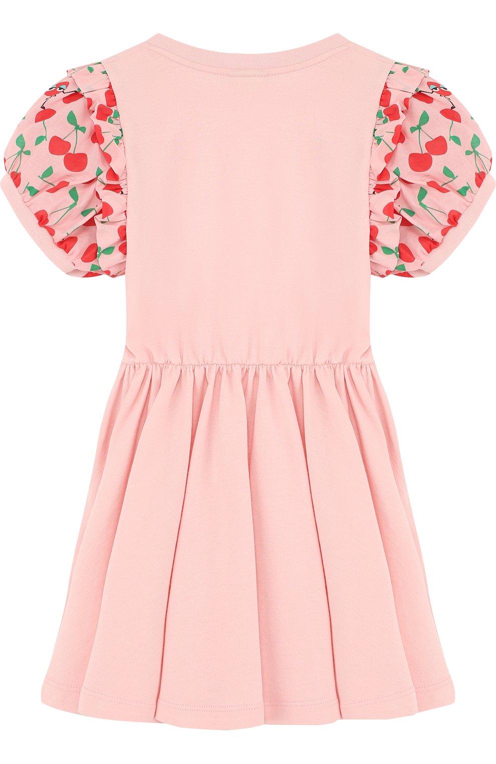 Детское приталенное хлопковое платье с контрастными рукавами FENDI розового цвета, арт. JFB163/7AJ/2A-5A | Фото 2