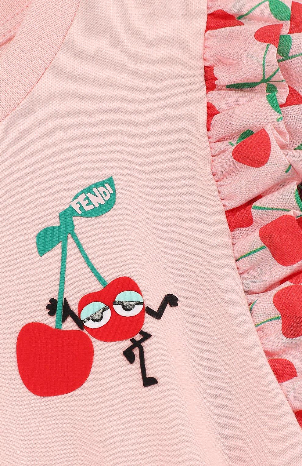 Детское приталенное хлопковое платье с контрастными рукавами FENDI розового цвета, арт. JFB163/7AJ/2A-5A | Фото 3