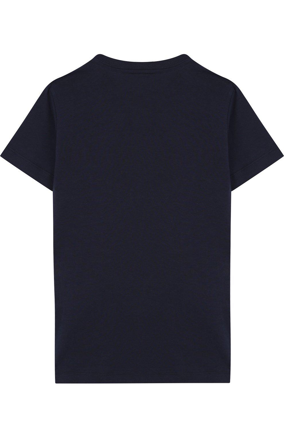 Детская хлопковая футболка с принтом FENDI синего цвета, арт. JMI188/7AJ/10A-12A | Фото 2
