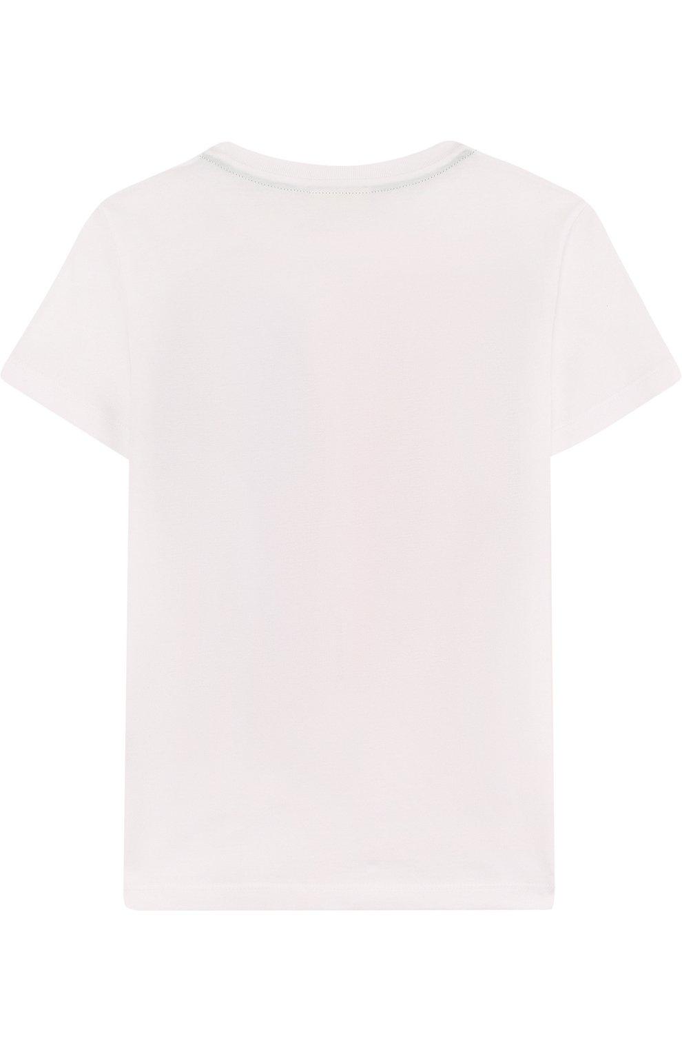 Детская хлопковая футболка с принтом FENDI белого цвета, арт. JMI189/7AJ/2A-5A | Фото 2