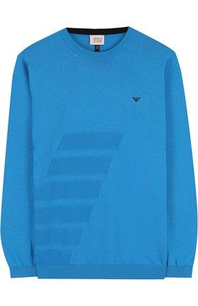 Хлопковый пуловер с фактурной отделкой и круглым вырезом   Фото №1