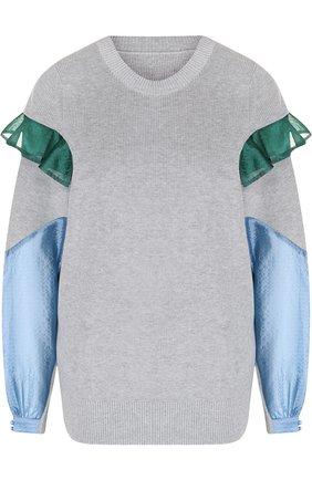 Хлопковый пуловер с контрастными вставками   Фото №1