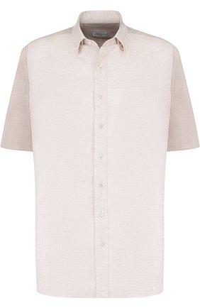 Мужская рубашка из смеси шелка и хлопка ZILLI светло-бежевого цвета, арт. MFP-02203-64016/0001 | Фото 1