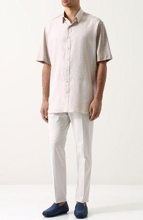 Мужская рубашка из смеси шелка и хлопка ZILLI светло-бежевого цвета, арт. MFP-02203-64016/0001 | Фото 2