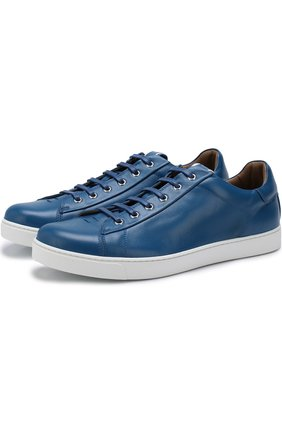Мужские кожаные кеды на шнуровке GIANVITO ROSSI синего цвета, арт. S20266.M1WHT.CLNPAWH | Фото 1