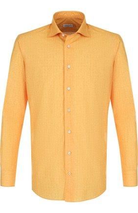 Мужская хлопковая рубашка с воротником кент ZILLI желтого цвета, арт. MFP-10301-54035/0001 | Фото 1 (Рукава: Длинные; Длина (для топов): Стандартные; Материал внешний: Хлопок; Статус проверки: Проверено; Случай: Повседневный; Воротник: Кент)