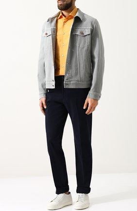 Мужская хлопковая рубашка с воротником кент ZILLI желтого цвета, арт. MFP-10301-54035/0001 | Фото 2 (Рукава: Длинные; Длина (для топов): Стандартные; Материал внешний: Хлопок; Статус проверки: Проверено; Случай: Повседневный; Воротник: Кент)