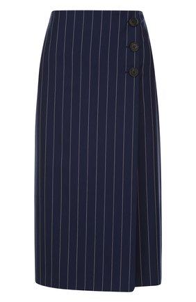 Шерстяная юбка-миди в полоску | Фото №1