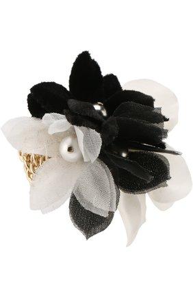 Кольцо с текстильным декором в виде цветка   Фото №1