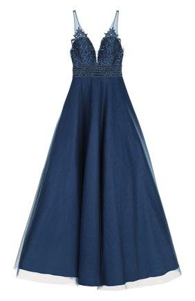 Приталенное платье-макси с пышной юбкой Basix Black Label синее | Фото №1