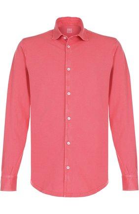 Хлопковая рубашка с воротником кент Fedeli светло-розовая | Фото №1