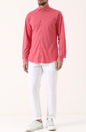 Хлопковая рубашка с воротником кент Fedeli светло-розовая | Фото №2
