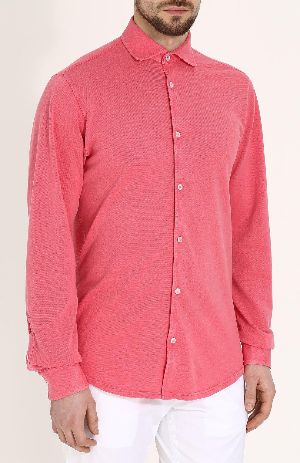 Хлопковая рубашка с воротником кент Fedeli светло-розовая | Фото №3