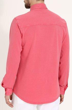 Хлопковая рубашка с воротником кент Fedeli светло-розовая | Фото №4