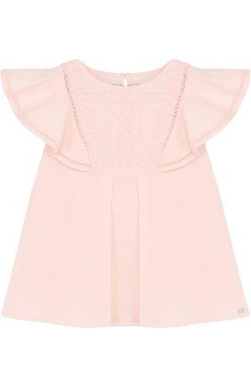 Хлопковая блуза свободного кроя с вышивкой | Фото №1