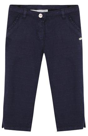 Детские хлопковые брюки с декором на карманах Tartine Et Chocolat темно-синего цвета   Фото №1