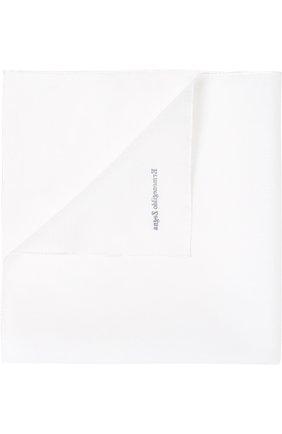 Мужской хлопковый платок с логотипом бренда ERMENEGILDO ZEGNA белого цвета, арт. Z3I18/38B | Фото 1