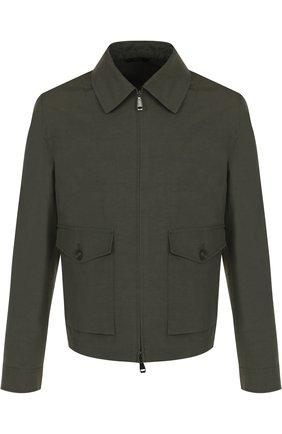 Мужская куртка из смеси льна и хлопка на молнии BRIONI темно-зеленого цвета, арт. SLPL0L/P7149 | Фото 1