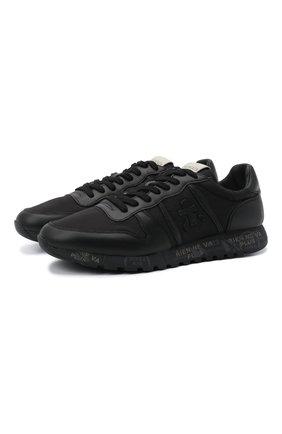 Комбинированные кроссовки Eric на шнуровке Premiata черные | Фото №1